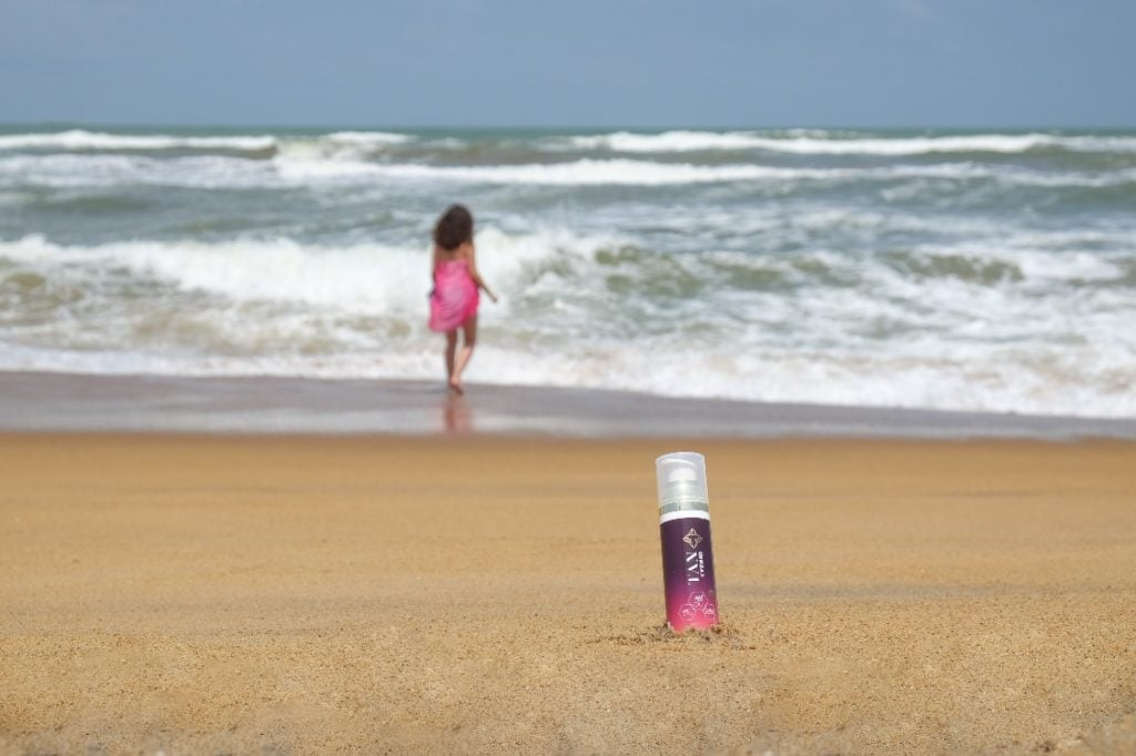 Tancream on the beach